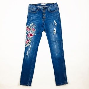 Women's Machine Skinny Floral Embroidered Jeans